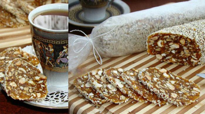 Рецепт чайной колбаски из печенья