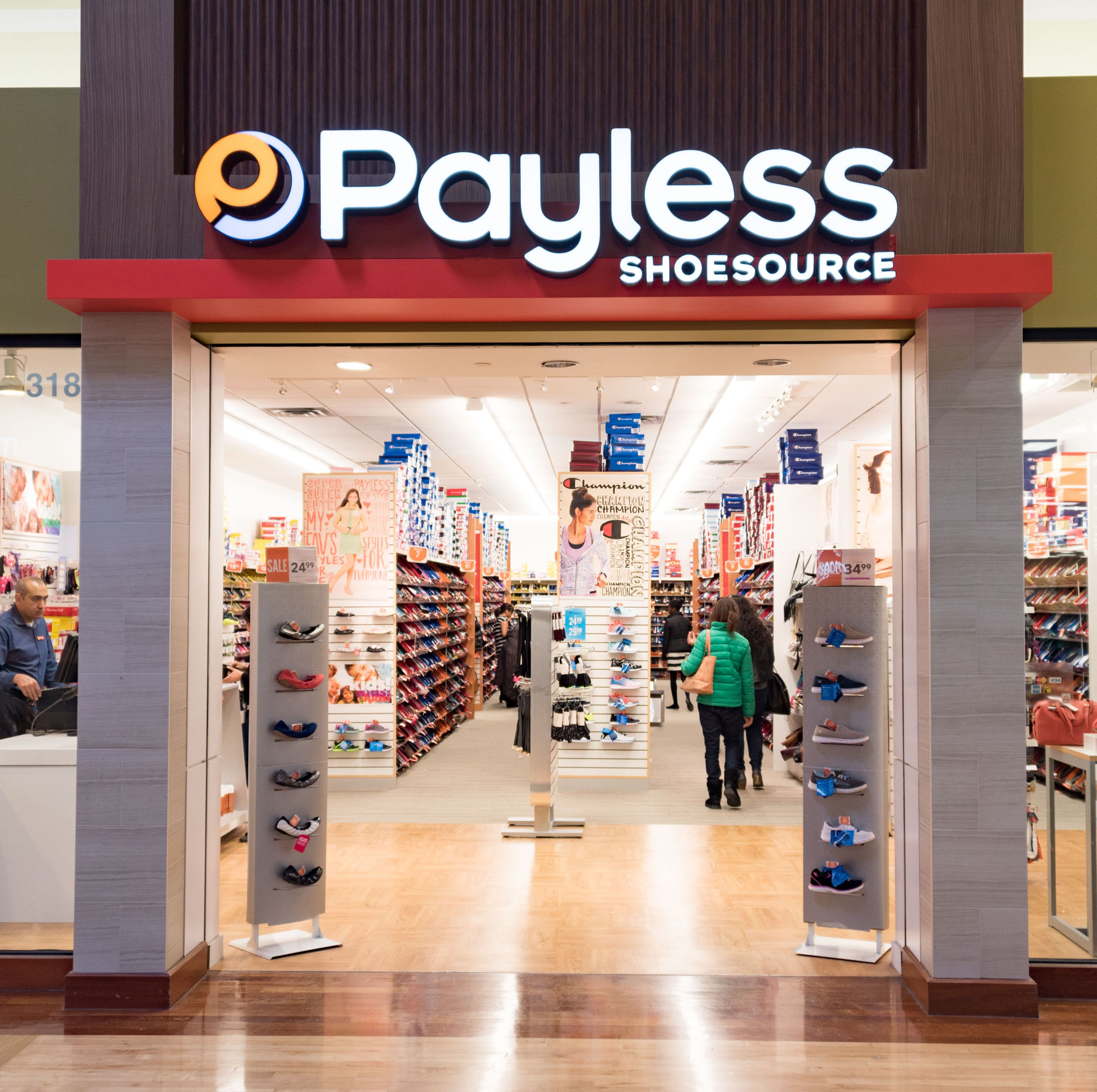 Front entrance of Payless shoe store. Payless ShoeSource is