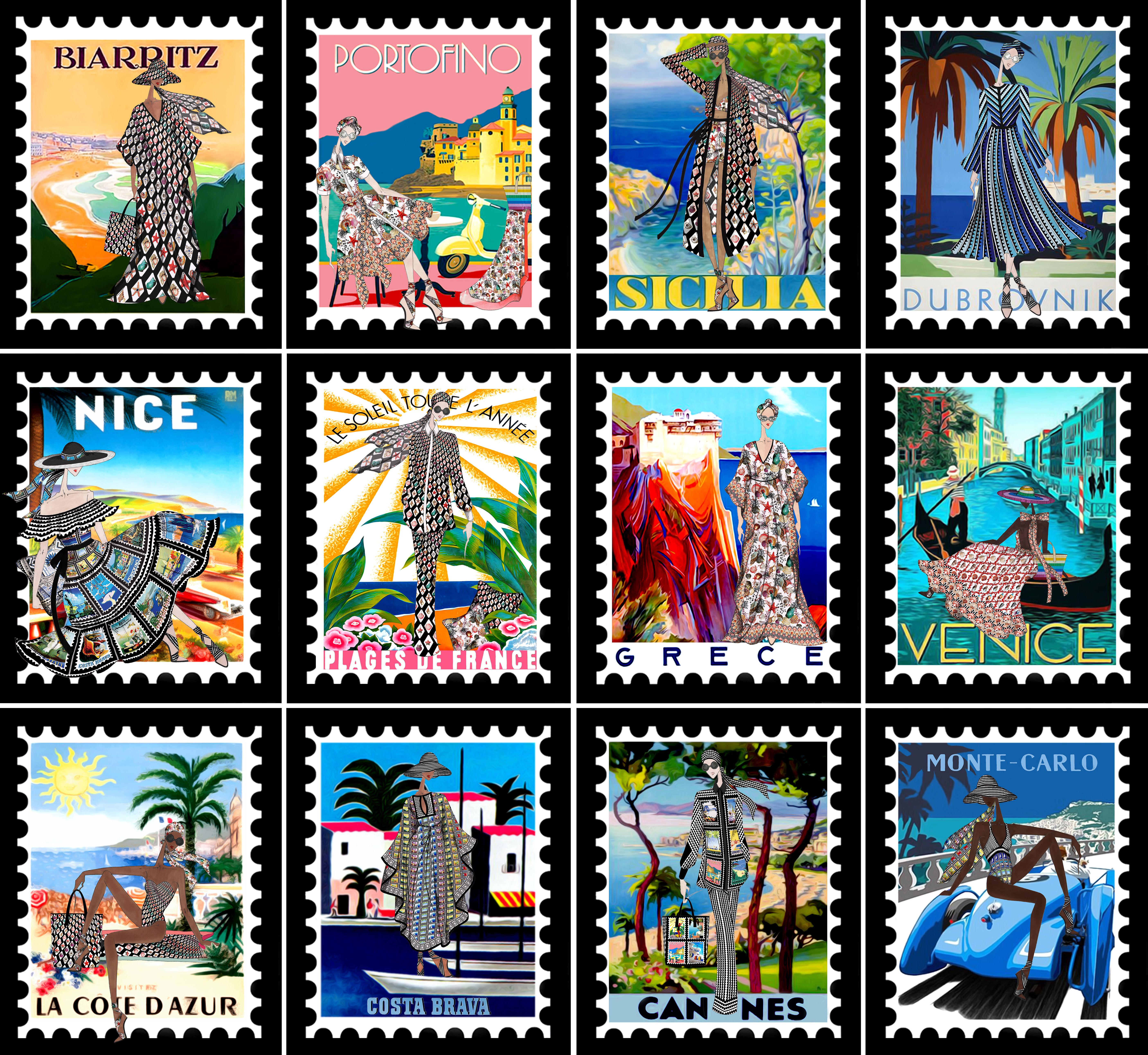 mary katrantzou's postage stamp campaign for her mare line